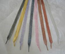 Glitter Ribbon Laces -Shoes,Trainers,Boots -Adults,Junior,Inf- Aglet Ends - 10mm