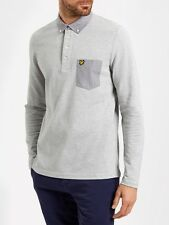 Lyle And Scott Mens Polo LP600V Long Sleeve Woven Collar-Grey
