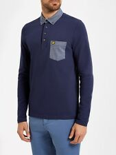 Lyle And Scott Mens Polo LP600V Long Sleeve Woven Collar-Navy