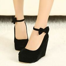 Women's Wedge High Heels Platform Pumps Bowknot Ankle Strap Bridal Shoes Size