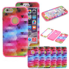 Heavy Duty Hybrid Soft Hard Combo Matte Triangle Skin Case Cover For iPhone 5/5S
