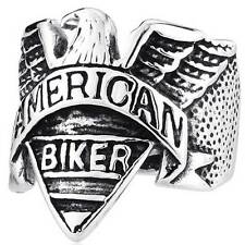 American Biker Mens Ring Stainless Steel Eagle Jewelry Punk Rock Band Vintage