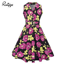 Ruiyige 50s 60s Rockabilly Dress Vintage Style Swing Pinup Housewife Party Dress