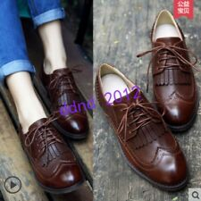 Womens Vintage Lace Up Dress Oxford Brogue Fringe Leather Shoes Size
