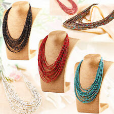Bohemia Multi Layer Chain Long Necklace Seed Beads Vintage Jewelry Womens