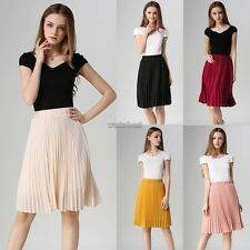 Women Fashion Retro Chiffon Elastic Waist Solid Pleated Midi Skirt WST