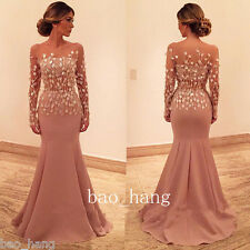 2017 New Evening Formal Dress Sheer Mermaid Long Sleeve Applique Prom Party Gown