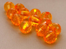 8mm 100/200/300/400/500pcs ORANGE RED FACETED ACRYLIC PLASTIC ROUND BEADS TY2366