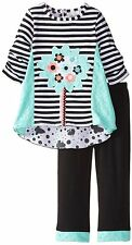 Rare Editions Girls Easter Turquoise Lace Butterfly Dress Legging Set 4 - 6X New