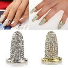 Full Pave Crystal Claw Gold Silver Nail Paw Finger Ring Punk Gothic Jewelry