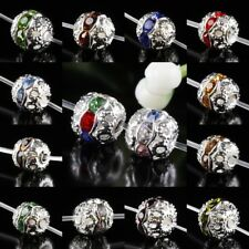 Crystal Rhinestone Lace Flower Round Ball Loose Spacer Beads Charms Fit Bracelet