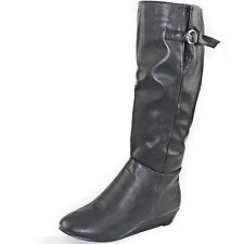 Sexy Wedge Round Toe Knee High Wedge Heel Mid Calf Cowboy Riding Boots Shoes