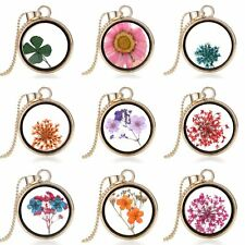 Real Dried Cream Flowers Locket Pressed Gold Jewelry Round Pendant Necklace Hot