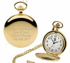 Personalised Gold Plated Wedding Pocket Watch Father of the Groom Gift Engraved