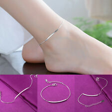 Plain Silver Plated Long Pipe Chain Anklet Bracelet Bangle Ankle Foot Jewelry