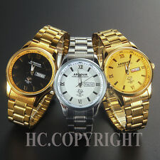 Luxury Gold Plated Stainless Steel Analog Quartz DATE DAY Mens Wrist Watch + Box