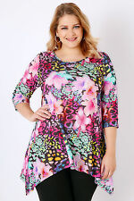 Yoursclothing Plus Size Womens Tropical Print Jersey Top With Hanky Hem