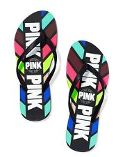 NEW VICTORIA'S SECRET PINK Flip Flops Sandal Retro Striped S 5 6  M 7 8  L 9 10