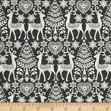 Scandi 3 Christmas Quilt Fabric Reindeer Gray Linen Makower UK Premium Cotton