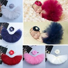 Newborn Baby Girl Flower Headband+ Tutu Skirt Photo Photography Costume Prop Set
