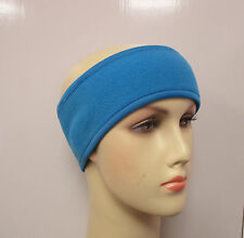 Thin headband thermal polar fleece head ear warmer hair band cycle ski pink/blue
