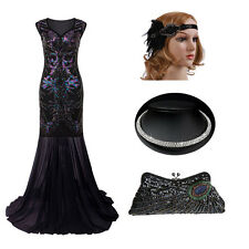 Sequin Flapper Beaded Gatsby Wedding Party Long Formal Evening Prom Ball Dresses