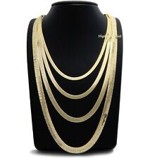 """Herringbone Chain 14K Gold Plated 4mm to 7mm 8"""" 18"""" 20"""" 24"""" 30"""" Necklace"""