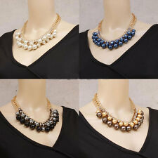 Women Gold Chain Crystal Cluster Pearl Chunky Choker Statement Bib Necklace