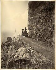 Skeen. Ceylan, Railway at Sensation Rock Vintage albumen print.  Tirage albumi