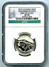 2015 $20 CANADA SILVER GINGERBREAD MAN NGC SP70 FIRST RELEASES HOLIDAY 1/4+ OZ