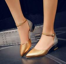 Womens Pointy Toe Ankle Strap Low Block High Heels Pumps Mary Jane Shoes New YJQ