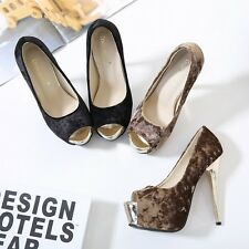 Fashion Platform Shallow Pump Peep Toe Stiletto Suede High Heel Sexy Women Shoes