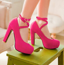 Hot Sales Women Faux Suede Chunky High Heel Platform Cross Strappy Pumps US Size
