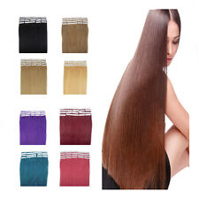 "20""  Tape in 100% Remy Real Human Hair Extensions Straight High Quality 20PCS"