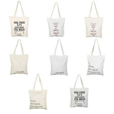 Home Canvas Letter Pattern Zipper Closure Shopping Pouch Tote Storage Bag Holder