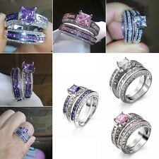 Princess Wedding Set Rings Crystal 925 Sterling Silver Zircon Charming Jewelry