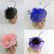 Wedding Races Party Fascinator Veil Net Hat with Flax and Feathers Hatinators