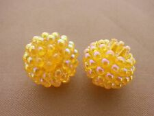 15mm TRANSLUCENT IRIDESCENT YELLOW ACRYLIC PLASTIC BERRY LOOSE BEADS TY0715