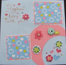 """TWO 12""""X12"""" PREMADE SCRAPBOOK PAGES """"HAPPINESS IS BEING WITH YOU"""" GIRLS PAGE"""