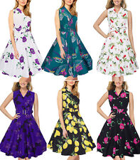 UK Vintage Womens Retro Style 50s Summer Floral Evening Party Dress Swing Pinup