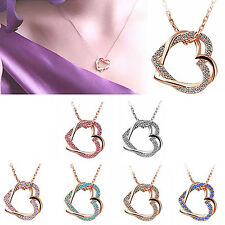 Double Love Heart Lady Rhinestone Pendant Chain Necklace Jewelry Glorious