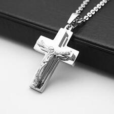 Mens Womens Silver Stainless Steel Jesus Cross Pendant Prayer Necklace Chain