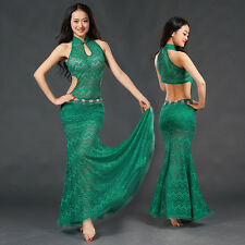 New 2017 Women Sexy Lace Belly Dance Costume Stage Club Long Dress Skirt