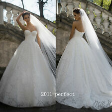 2017 New Strapless Wedding Dresses Lace Applique White Ivory Bridal Ball Gowns