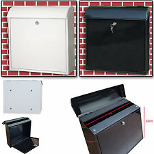 VENICE STAINLESS STEEL WHITE BLACK LOCKABLE LETTER MAIL POST BOX WALL MOUNTED