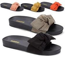 WOMENS LADIES SUMMER FLAT SLIP ON KNOT BOW BEACH HOLIDAY SANDALS MULE SHOES SIZE