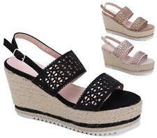 WOMENS ROPE WEDGE HEEL ANKLE BUCKLE STRAP PEEPTOE SUMMER SANDALS SHOES SIZE