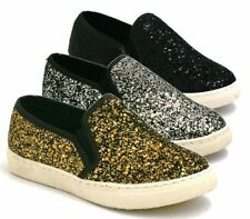 WOMENS TRAINERS LADIES PUMPS FLATS SLIP ON GLITTER SKATER SHOES CASUAL SIZE NEW