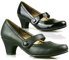 WOMENS LADIES LOW HEEL BAR STRAP MARY JANE WORK OFFICE COURT SHOES SIZE 3 4 5 6