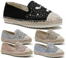 WOMENS FLAT SLIP ON LACE MESH DIAMANTE ESPADRILLE PUMPS CASUAL COMFORT SHOES 3-8